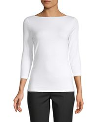Saks Fifth Avenue Black Saks Fifth Avenue Boatneck T-shirt - White