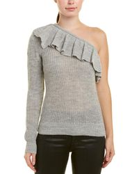 Rebecca Taylor One-shoulder Alpaca & Wool-blend Jumper - Gray