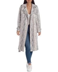 Avec Les Filles Double-breasted Snake Print Trench Coat - Gray