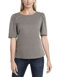 Vince Camuto Elbow-sleeve Puff Shoulder Blouse - Gray