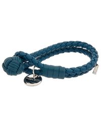 Bottega Veneta Intrecciato Nappa Leather Bracelet - Blue