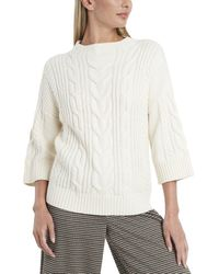 Vince Camuto Elbow-sleeve Cable Stitch Sweater - White