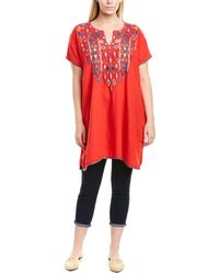 Johnny Was Plus Linen Shift Dress - Red