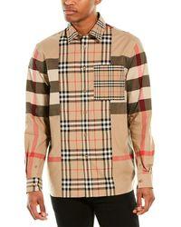 Burberry Check Poplin Shirt - Natural