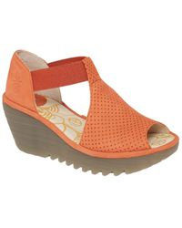 Fly London Yemo Leather Wedge Sandal - Orange