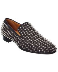 Christian Louboutin Dandelion Spikes Suede Loafer - Black