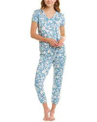 Flora Nikrooz 2pc Elsa Printed Knit Shirt & Short Set - Blue