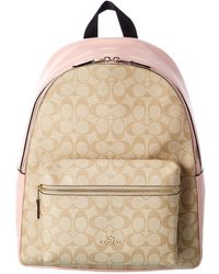COACH Charlie Signature Canvas & Leather Backpack - Brown