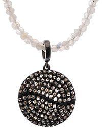 Bavna Silver 1.30 Ct. Tw. Diamond & Rainbow Moosntone Necklace - Metallic