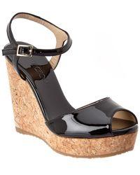 Jimmy Choo Perla 120 Patent Wedge Sandal - Black