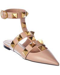 Valentino Valentino Garavani Roman Stud Leather Ankle Strap Flat - Multicolor