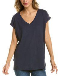NIC+ZOE Linen V-neck Linen-blend T-shirt - Blue