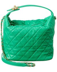 Chanel Summer 2020 Green Quilted Leather Hobo Bag Nm