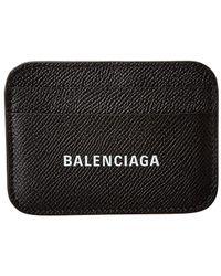 Balenciaga Logo Print Leather Card Holder - Black