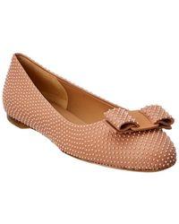 Ferragamo Varina Studded Leather Ballet Flat - Pink