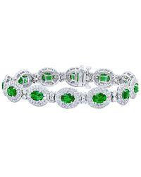 Diana M. Jewels . Fine Jewellery 18k 19.00 Ct. Tw. Diamond & Emerald Bracelet - Green