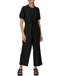 Whistles Button Front Linen Jumpsuit - Black