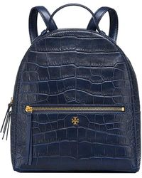Tory Burch Croc-embossed Mini Leather Backpack - Blue