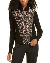 Elie Tahari Evita Wool & Leather Jacket - Brown