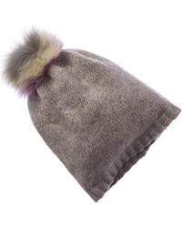 Portolano Cashmere Lurex Hat - Grey