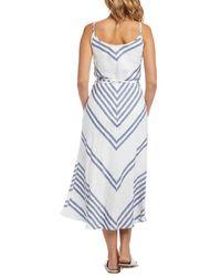 Karen Kane Linen Stripe Dress - Blue