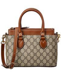 Gucci - Brown Gg Supreme Canvas & Leather Mini Tote - Lyst