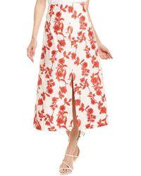 Rebecca Taylor Scarlet Linen Midi Skirt - White