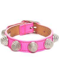 Balenciaga Neon Pink Leather Arena Stud Buckle Bracelet, Never Worn
