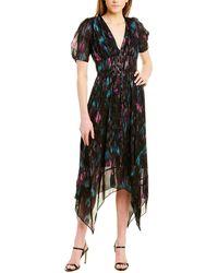 The Kooples V-neck Abstract-print Crepe Midi Dress - Black