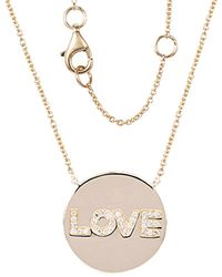 Sabrina Designs 14k Diamond Love Disc Necklace - Multicolour