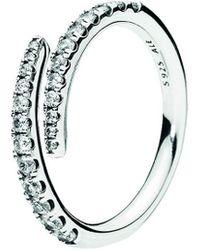PANDORA Silver Cz Lines Of Sparkle Ring - Metallic
