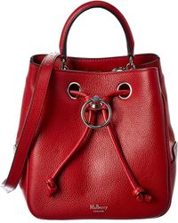 Mulberry Hampstead Small Leather Bucket Bag - Red