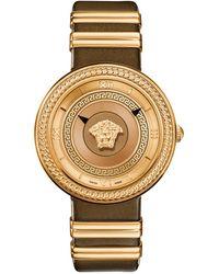 Versace Women's Icon Leather Strap Watch, 40mm - Metallic