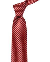 Ferragamo Red Parrot Print Silk Tie