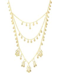Sparkling Sage - 14k Plated Coin Teardrop Layered Necklace - Lyst