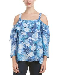 NYDJ - Floral Print Ruffle Cold Shoulder Blouse - Lyst