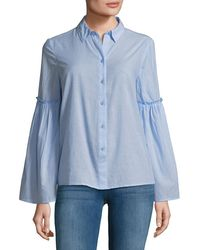 Beach Lunch Lounge Bell Sleeve Shirt - Blue