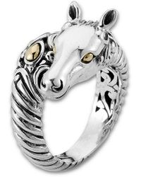 Samuel B. Jewelry Silver & 18k Horse Ring - Metallic