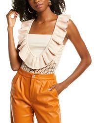 Kendall + Kylie Crocheted Bodysuit - Orange