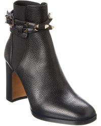 Valentino Rockstud Leather Bootie - Black