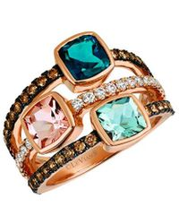 Le Vian ? Chocolatier? 14k Strawberry Gold? 1.52 Ct. Tw. Diamond & Blue Topaz Ring