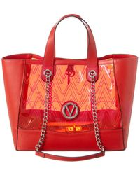 Valentino By Mario Valentino Sophie Leather & Pvc Tote - Red
