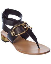 Tod's Chain Strap Leather Sandal - Black