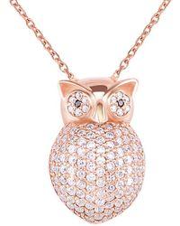 Gabi Rielle Rose Gold Over Silver Cz Owl Pendant Necklace - Multicolour