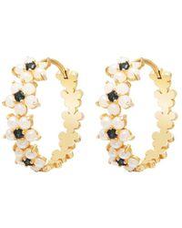 Gabi Rielle 14k Over Silver Onyx Pearl Cz Flower Earrings - Metallic