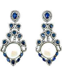 Arthur Marder Fine Jewelry Silver 10.86 Ct. Tw. Diamond, Blue Sapphire, & 19mm Pearl Earrings