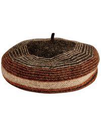 San Diego Hat Company Stripe Knit Wool Beret - Brown