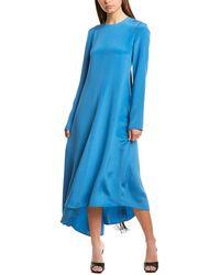 Tibi Silk Midi Dress - Blue