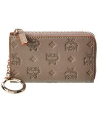 MCM Small Leather Zip Around Wallet - Pink