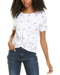 Chrldr Tie-dye Bolts Crop T-shirt - White